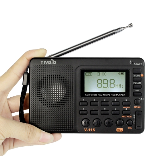 TIVDIO V-115 FM/AM/SW Radio Multiband Radio Receiver REC Recorder Bass Sound MP3 Player Speakers