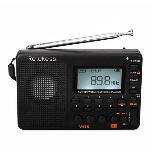 Retekess Lecteur de musique radio multibande TIVDIO V-115 FM / AM / SW
