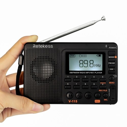 Retekess TIVDIO V-115 FM/AM/SW Multiband Radio Music Player