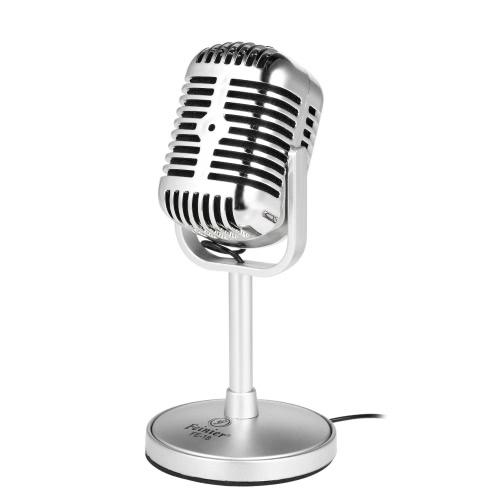 Feinier FE-18 Высокочувствительный микрофон для настольных ПК для настольных компьютеров Подключите и воспроизведите для записи онлайн-чата Интернет-игра Видеоконференция Silver