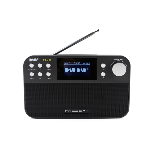 Docooler FREESAT DR-103 Portable Digital DAB+ DAB FM Radio DAB RDS Wavebands Receiver Stereo Receptor with 2.4 Inch TFT LCD Black White Display 2200mAh Rechargeable Battery Long Standby Time