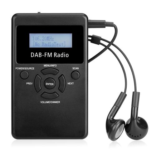 "Портативный цифровой DAB FM RDS Радио Pocket Digital DAB Stereo Lossless Receiver с наушником Lanyard 1.2 ""Дисплей"