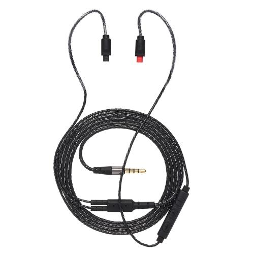 2 Broches 0.75mm à 3.5mm Écouteur Câble de remplacement Cordon d'Echange de Câble Audio avec 3 Boutons à Distance pour Audio-Technica IM04 IM03 IM02 IM01 IM50 IM70 Noir
