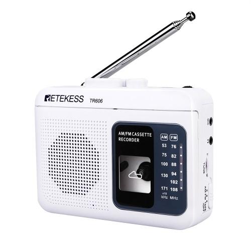 Retekess TR606 Mini Portable Radio AM / FM Radio Antenne Télescopique Avec Lecteur Cassette Radio Numérique Haut-Parleur Lecture Enregistreur Vocal
