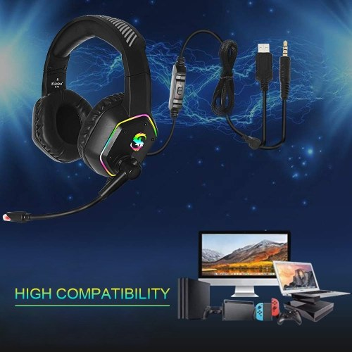 KUBITE K-15 Gaming Headset 3.5mm+USB Plug Stereo Over-Ear Headphone