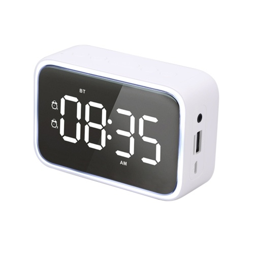 G20E Wireless Bluetooth 5.0 Speaker Alarm Clock Night Lamp FM Radio MP3 Player Support TF Card U Disk Line In Hands-free with Mic Digital Display