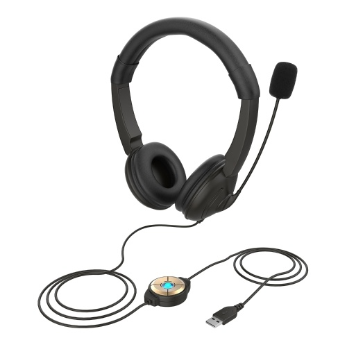 USB Wired Headset with Noise Cancelling Microphone On Ear Computer Headphone Call Center Earphone Volume Control Speaker Mic Mute Adjustable Headband
