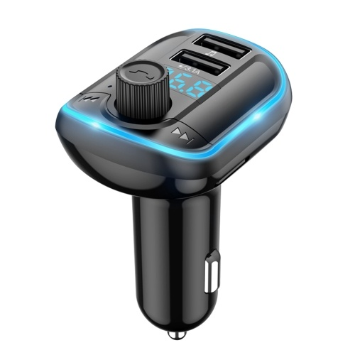 Carregador USB duplo BT 5.0 Transmissor FM para carro MP3 Music Player Cartão TF / Disco U com tela LED Modulador transmissor de rádio sem fio