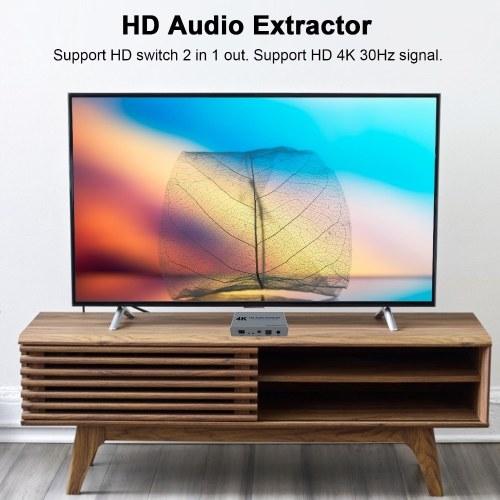 E21 HD Audio Extractor Splitter HD Switch 2 in 1 out 4K HD to HD Optical SPDIF 3.5mm HD Audio Splitter Switch