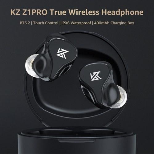 KZ Z1 PRO Bluetooth 5.2 TWS Earbuds True Wireless Headphones Dynamic Game Earphone Touch Control IPX6 Waterproof Sport Headset with Charging Box