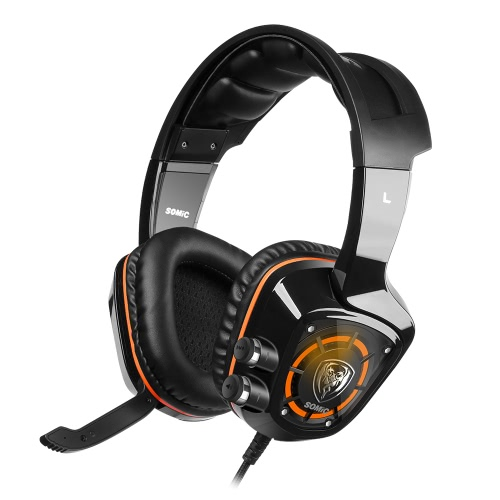 Somic G910 USB Gaming Headphone 7.1 Sound Effect w/ Mic Vibration Intelligent Game Headset with In-line Control Cool LED Backlight Black for Desktop Notebook Laptop