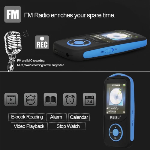 RUIZU X06 4GB MP3 / MP4 Player Lossless Music Player BT Connection FM Radio Recoding w/ TF Card Slot 1.8 Inches Screen