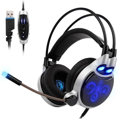 SADES SA908 USB Wired Gaming Headset com luz LED