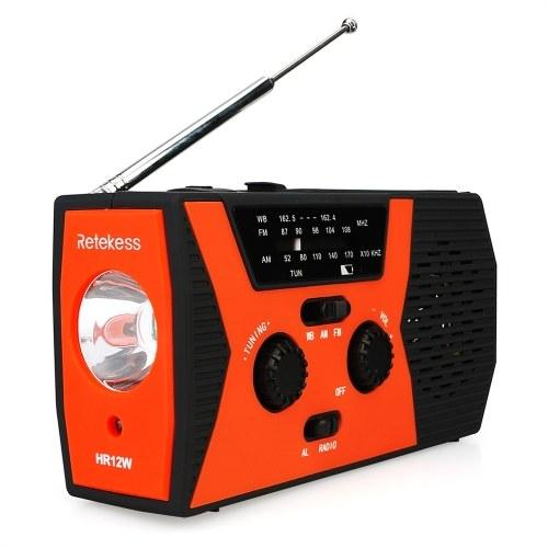 Retekess HR12W FM AM WB Rádio Digital Ao Ar Livre Multi-band de Rádio Solar Power-manivela De Emergência Power Bank SOS Alarme com LED Lanterna Lâmpada de leitura
