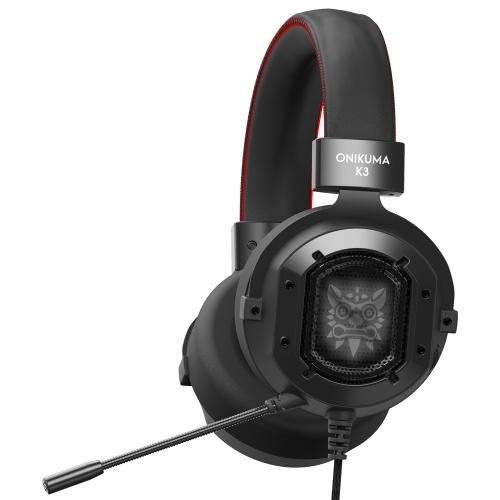 ONIKUMA K3 3,5 мм игровая гарнитура Стерео наушники-вкладыши RGB светодиодные фонари Микрофон с шумоподавлением Регулятор громкости для PS4 Новый компьютер Xbox One
