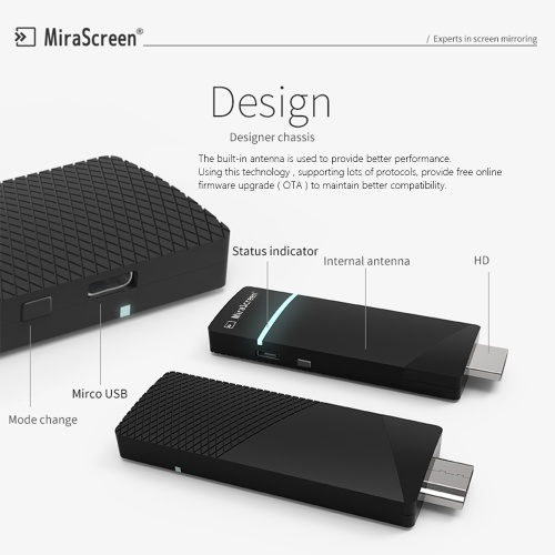 Mirascreen A3 2.4G WiFi Display Receiver HD Screen Mirroring DLNA Compatible with iOS Android Smart Phone Tablet PC