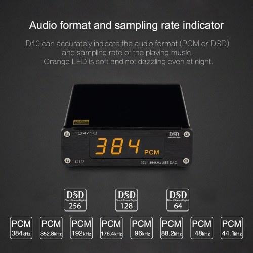 TOPPING D10 Digital USB DAC Audio Amplifier HiFi Spdif DAC Amp XMOS XU208 ES9018KAM OPA2134 DSD DAC Amplifier Audio Decoder