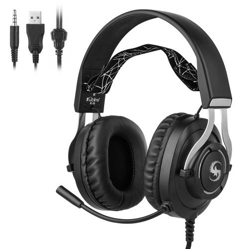 KUBITE K-10 Gaming Headset Over-Ear-Kopfhörer Bunte LED-Leuchten mit Mikrofon-Lautstärkeregler 3,5 mm + USB für PC, Laptop, Smartphone