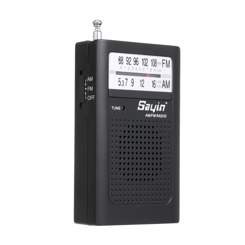 Mini AM FM Radio 2 Band Receptor de Rádio Portátil Transistor de Bolso Rádio Alto-falante Embutido w / Fone de Ouvido Antena Telescópica