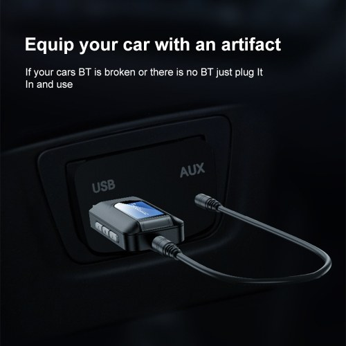 2 in 1 USB Bluetooth 5.0 Transmitter Receiver with LCD Display 3.5MM AUX Stereo for PC TV Car Headphones Wireless Adapter