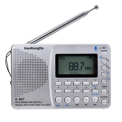 K607 Portable Radio AM/FM/SW/TF Pocket Radio MP3 Digital Recorder Support TF Card USB REC Recorder Sleep Time