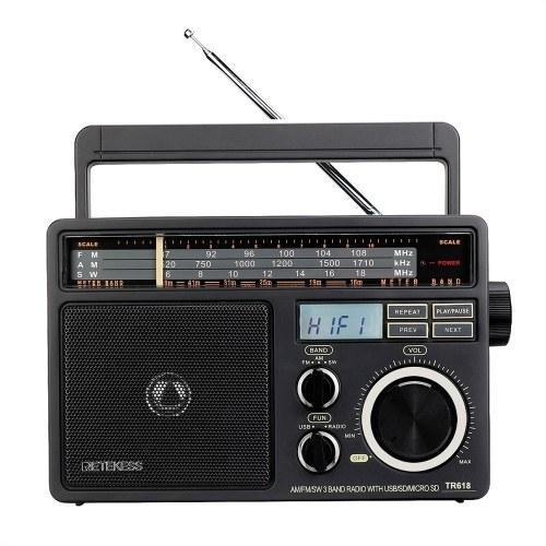 Retekess TR618 FM/AM/SW 3 Band Radio Portable Radio Receiver with USB TF SD Player Big Speakers High Volume Radio with MP3 Function