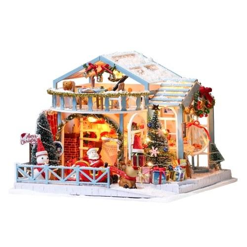 Casa delle bambole di Natale fai da te Case delle bambole in legno Kit di mobili per casa delle bambole in miniatura con giocattoli luminosi a LED per bambini Regalo di Natale