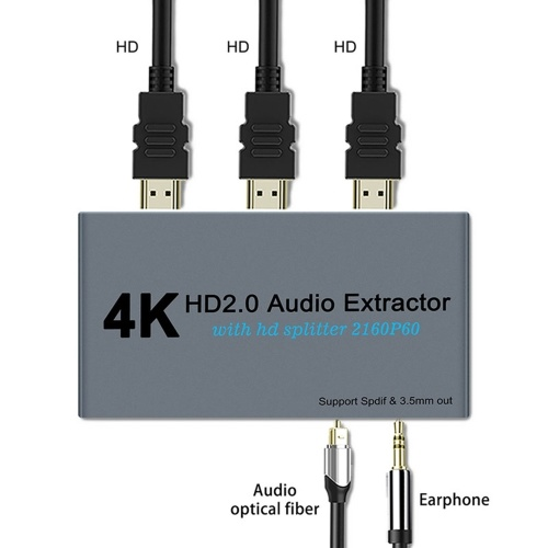 E12A HD 2.0 Audio Extractor Splitter HD to 2 HD Splitter 4K 60Hz HD to HD Optical SPDIF 3.5mm HD Audio Splitter Switcher