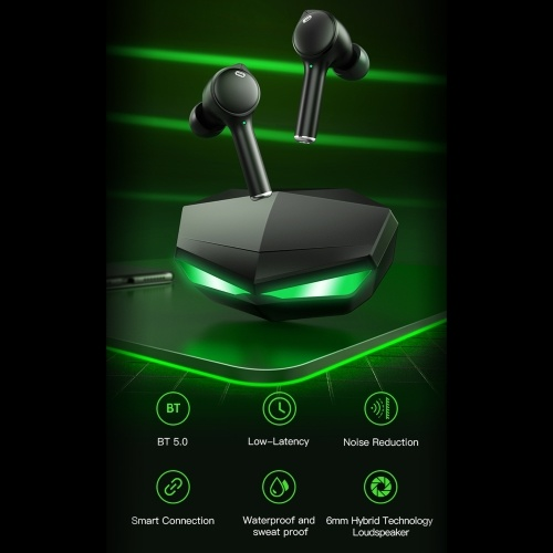 BT Gaming Earphone Waterproof Wirelessly Stereo Headset Mini Binaural Game & Music Dual Mode Noise Reduction Earbud with Charging Case