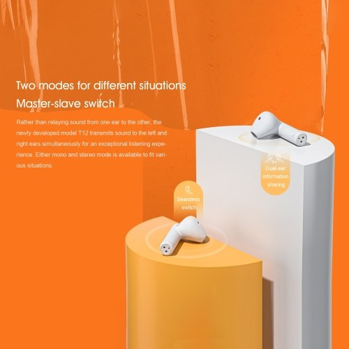 QCY T12 BT 5.1 True Wireless Headphones Fast Pairing Music Earphone with Dual Mic Charging Box Touch Control
