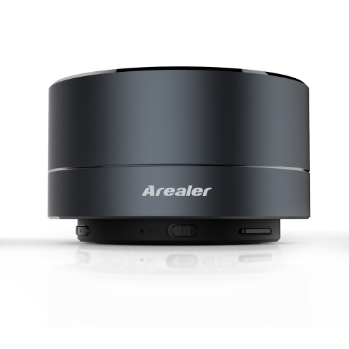 Arealer A10 Mini Metal Speaker Bluetooth Stereo Speaker FM Radio w/ LED Lamp Mobile Loudspeaker Hands-free w/ Mic TF Card Slot Black for iPhone 6s 6 Samsung LG Notebook Tablet Other Bluetooth-enabled Devices