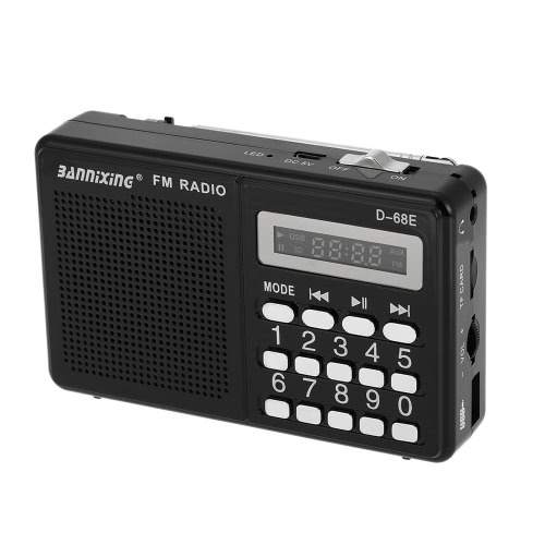 BANNIXING D-68E FM Radio Speaker Digital Audio Player Support U Disk TF Card Playback Stereo Music Player Black