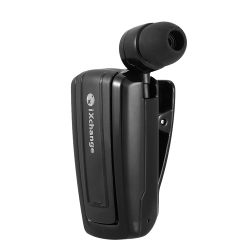 iXchange 25ST Wireless Bluetooth Stereo Retractable Headphone In-ear Clip Type Earphone Music Headset Hands-free with Mic Black for iOS Android Phones Other Bluetooth-enabled Devices