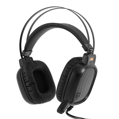 V18 5.1 Surround Sound USB Stereo Gaming Headphone Super Bass Over-ear Headset LED Light with Mic for PC Laptop Black