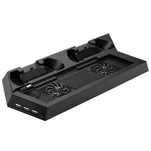 Vertical suporte de carga para PS4 com resfriamento controladores de ventoinhas de carregamento Station HUB USB para PlayStation 4 Dualshock 4 Black