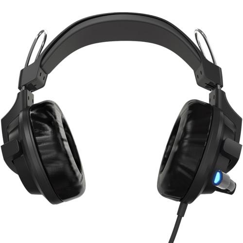 E-3LUE EHS937 USB Wired Contrôle du volume Casques d'écoute de jeu sur-Ear écouteurs 3,5 mm bruit Isoler avec LED Micro lumière