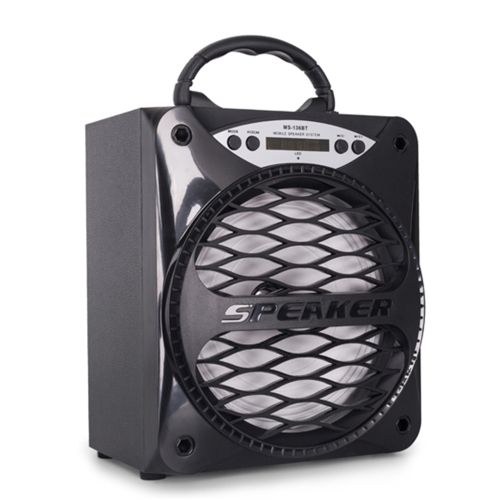 Portable BT Alto-falante sem fio Multimídia MS-136BT Alto-falante móvel Caixa de som de música Rádio FM com display LED 3.5mm Áudio Porta USB TF Card Slot