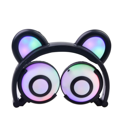 Fone de ouvido Fofo Folded Bear Orelhas Earlaps Com LED Light Button Bateria Soft Band Headset