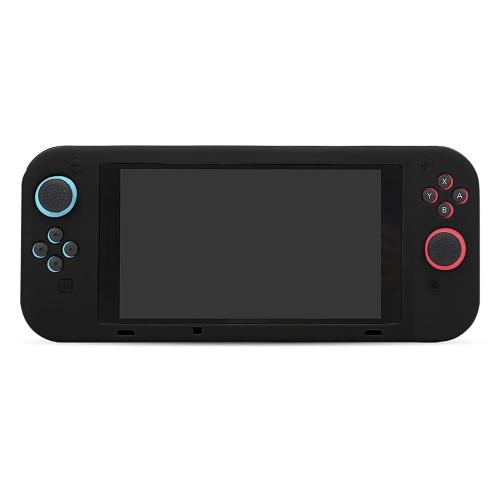 Capa de silicone antiderrapante BUBM Soft para tampa protetora de interruptor para console de videogame SWITCH de uma peça em preto