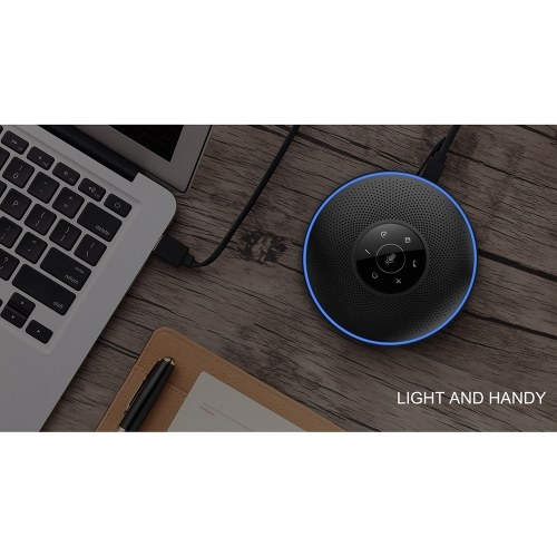 Intelligent Wireless Conference Speakerphone eMeet M2 Business Conferencing Speakerphone Far-Field Voice Recognition 360° Audio Pickup Cordless Mobile Speakerphone Skype