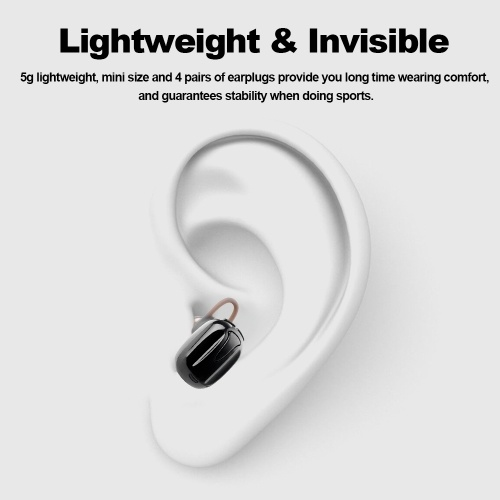 TWS-K8 True Wireless Bluetooth Headphones Invisible Earphone In-ear Stereo Music Headsets Hands-free w/ Microphone Charging Box Black thumbnail