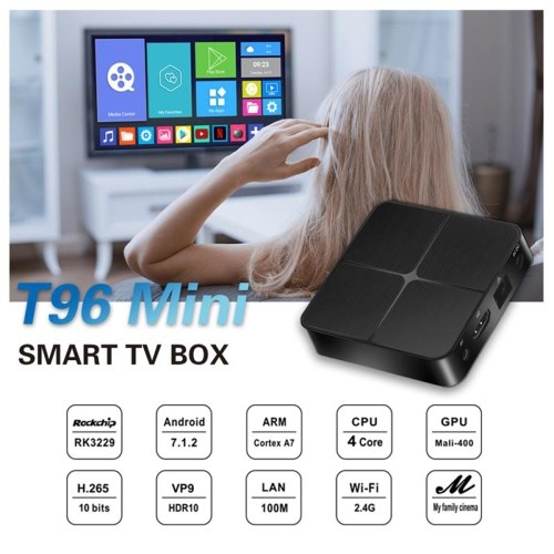 T96 Mini Smart Android 7.1 TV Box RK3229 Quad Core 4K 1080P Set Top Box VP9 H.265 HDR10 1GB/8GB DLNA WiFi LAN HD Media Player US Plug