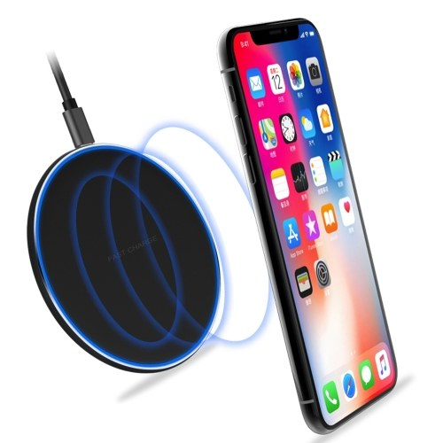 S110 Qi Wireless Charging Pad QC3.0 10W Fast Charging Plate LED Light Compatible with iPhone X XR XS Max 8 Plus Samsung S9 S8