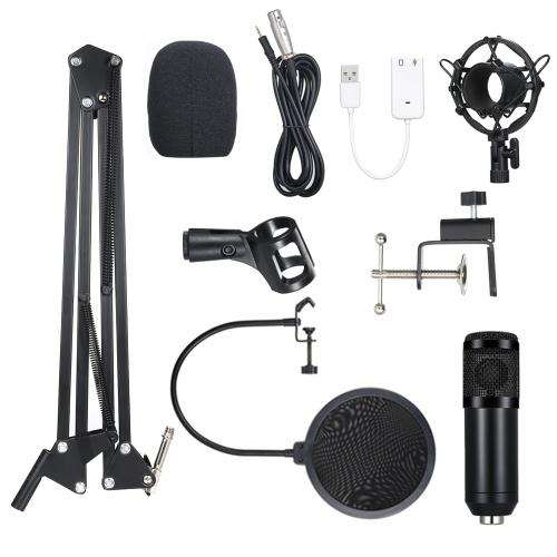 BM800 Microfone Condensador Aceso Pro Audio Studio Recording & Brocasting Ajustável Mic Suspensão Scissor Arm Pop Filtro Preto