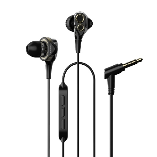 UiiSii BA-T8 3.5mm Auriculares con cable In-Ear Music Earbuds Dual Dynamic Earphone con micrófono para iPhone Xiaomi Android