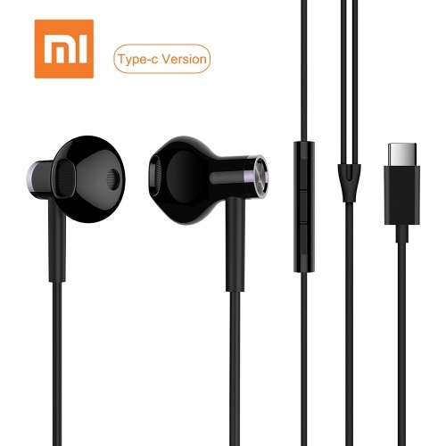 Xiao-mi USB Type-C Earphones Wired Control Dual-Unit Earbuds Headphones with Mic