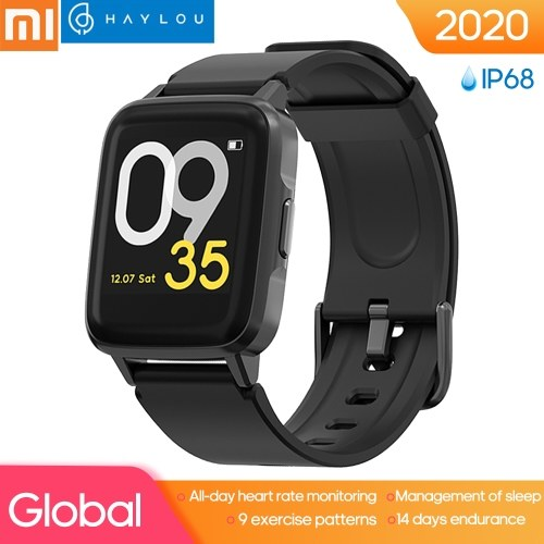Haylou LS01 Intelligent Watch 1.3inch Color Screen IP68 Waterproof 24h Heart Rate Monitor 9 Sports Modes Support Russian, German, Japanese, English