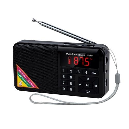 Y-509 Radio FM portable Mini haut-parleur Raido numérique avec lecteur de musique MP3