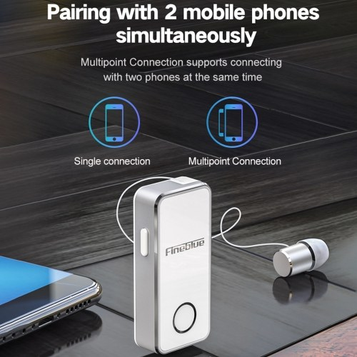 Fineblue F2 Pro Wireless Bluetooth 5.0 Earphone Vibrating Alert Wear Clip Headphone Hands-Free with Mic for Smartphone Music Headset