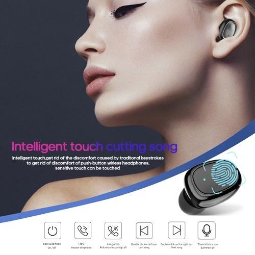 G5S TWS Wireless BT Earphone Mini Binaural In-Ear 6D HiFi Sport Earbuds LED Indicator Light IP54 Waterproof Earphone with Charging Case